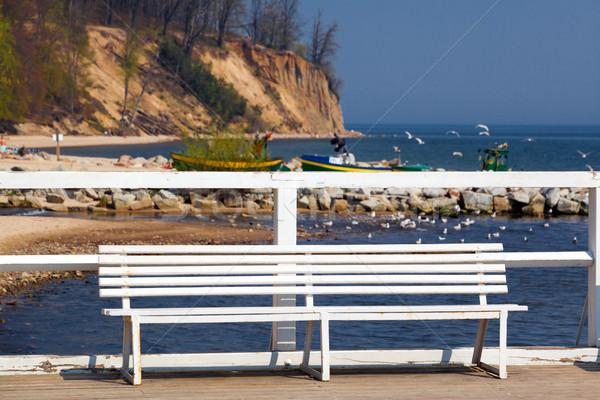 Pier branco banco céu água Foto stock © remik44992