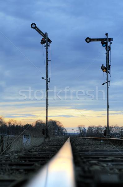 Foto stock: Ferrovia · velho · mecânico · dramático · céu · cor