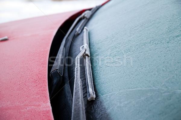 заморожены автомобилей лобовое стекло зима утра Сток-фото © remik44992