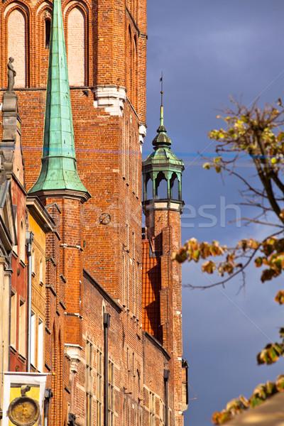 старый город Гданьск Польша зданий центр небе Сток-фото © remik44992