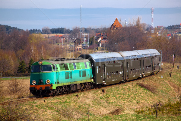 поезд дизельный локомотив Солнечный пейзаж Сток-фото © remik44992