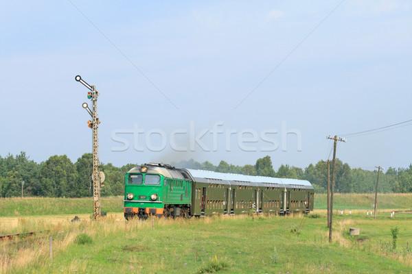 поезд лет зеленый Vintage двигатель отпуск Сток-фото © remik44992