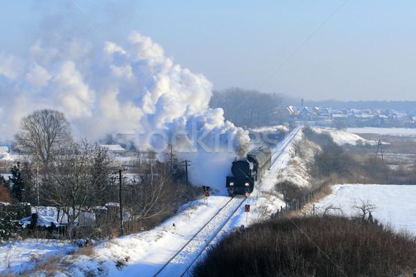 старые ретро пар поезд Vintage снега Сток-фото © remik44992
