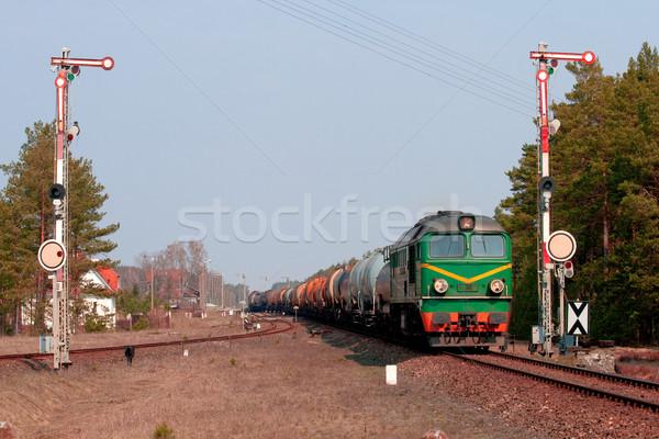 Diesel train deux gare bois paysage Photo stock © remik44992
