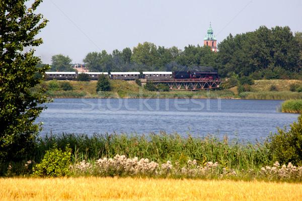 Сток-фото: ретро · пар · поезд · старые · моста · реке