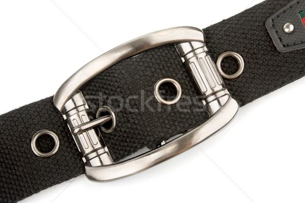 Gesp gordel metaal zwarte textiel geïsoleerd Stockfoto © restyler