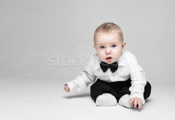 Gelukkig baby jongen weinig witte shirt Stockfoto © restyler