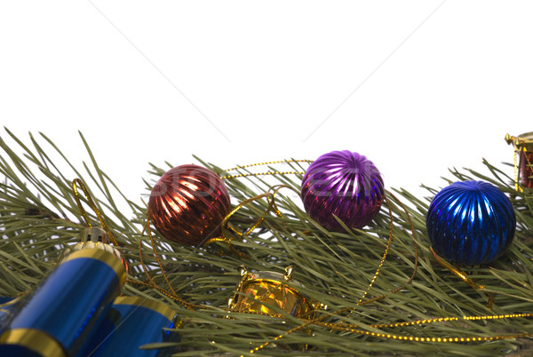 Christmas cedar branch with ornaments  Stock photo © restyler