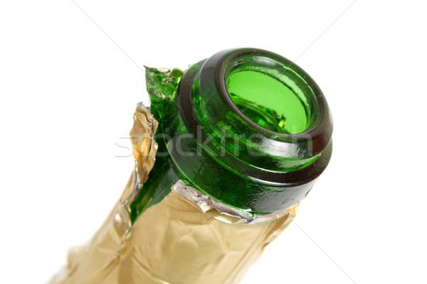 Açmak boş şampanya şişe yalıtılmış beyaz Stok fotoğraf © restyler