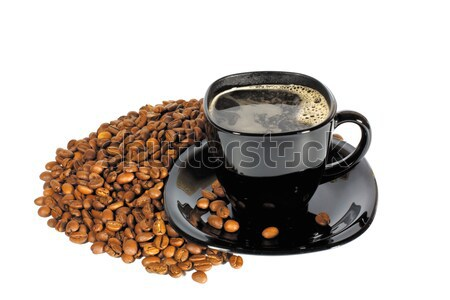 Fincan kahve siyah kahve çekirdekleri yalıtılmış beyaz Stok fotoğraf © restyler