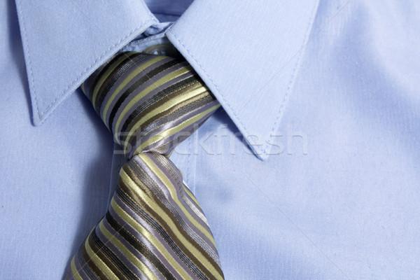 Stock fotó: Nyakkendő · póló · közelkép · kék · nyak · üzlet