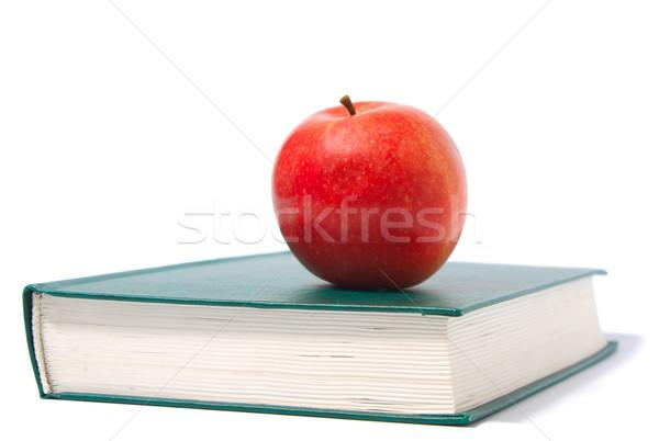 Pomme rouge vert livre isolé blanche affaires Photo stock © restyler