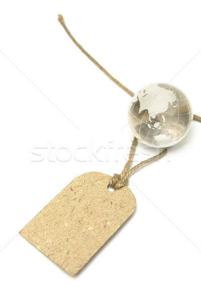 Blank tag and glass Earth Stock photo © restyler