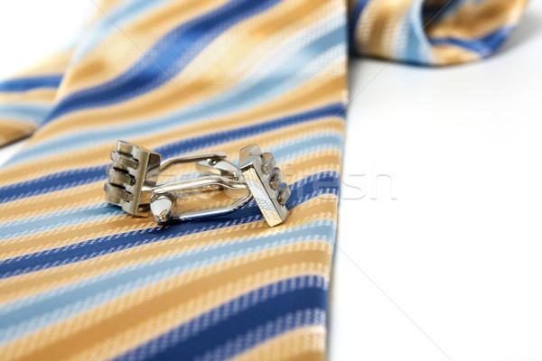 Nyakkendő öv mandzsettagombok selyem bőr kép Stock fotó © restyler