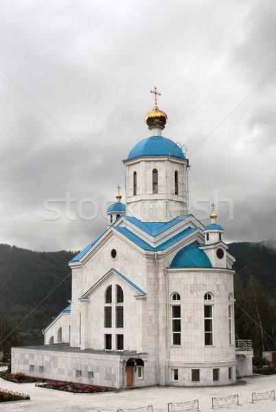 Ortodox templom fehér arany sötét kék Stock fotó © restyler