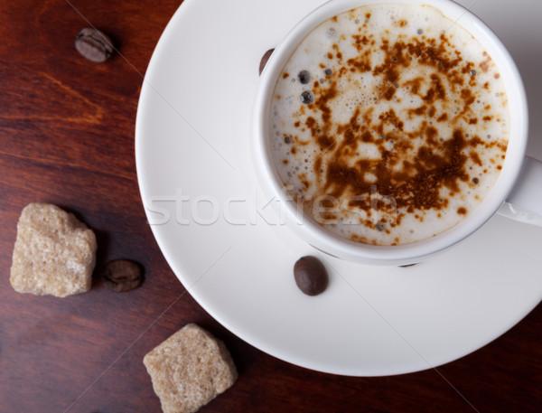 Esmer şeker parçalar ahşap masa kahve fasulye beyaz Stok fotoğraf © restyler