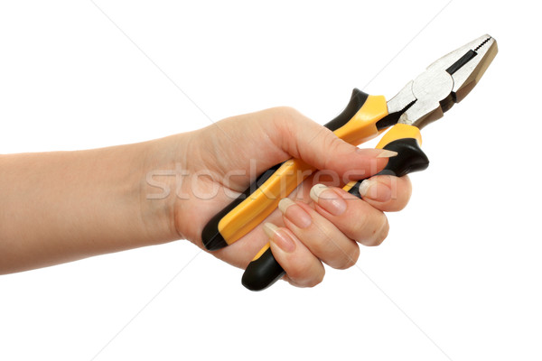pliers in a beautiful female hand Stock photo © restyler