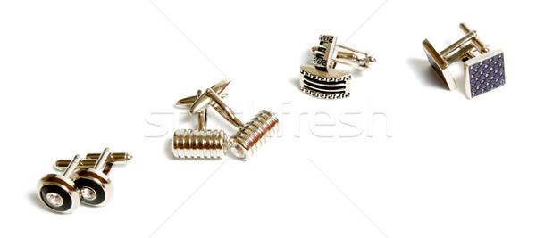 Manchet links ingesteld roestvrij staal manchetknopen geïsoleerd Stockfoto © restyler