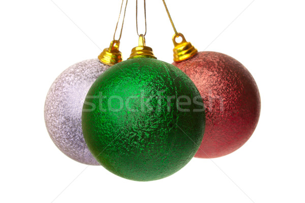 Zdjęcia stock: Trzy · christmas · kolorowy · wiszący · biały