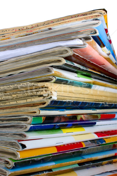 Heap of multi-coloured old magazines Stock photo © restyler