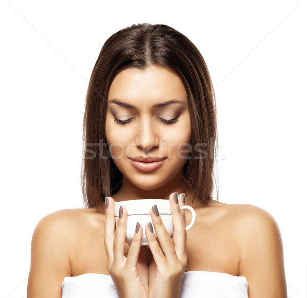 beautiful young woman with cup of coffee, on white background Stock photo © restyler