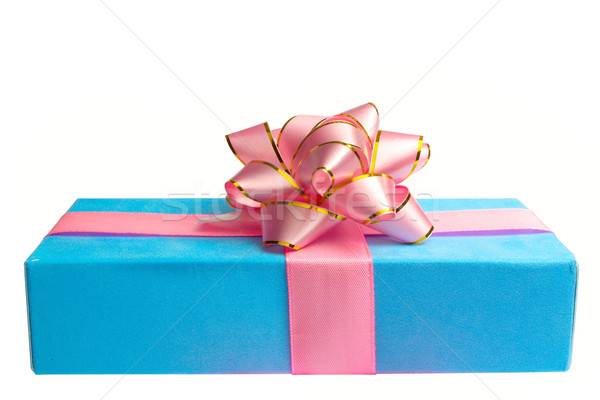 blue box with gift and bow, is tied up by a tape Stock photo © restyler