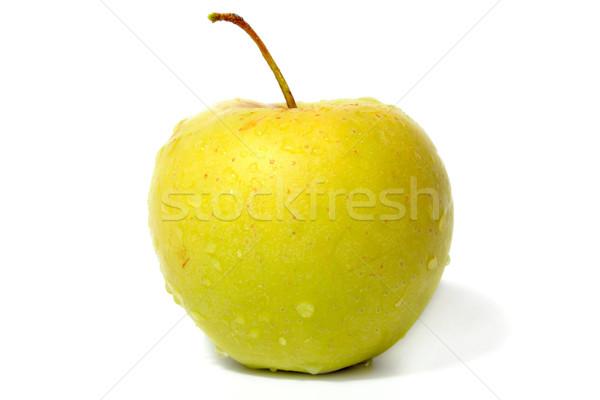 Yeşil elma çiy damla yalıtılmış Stok fotoğraf © restyler