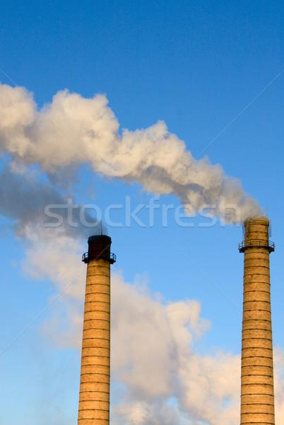 Tuğla borular duman mavi gökyüzü inşaat enerji Stok fotoğraf © restyler
