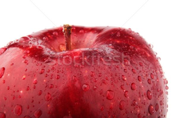Yarım kırmızı elma beyaz damla arka plan meyve Stok fotoğraf © restyler