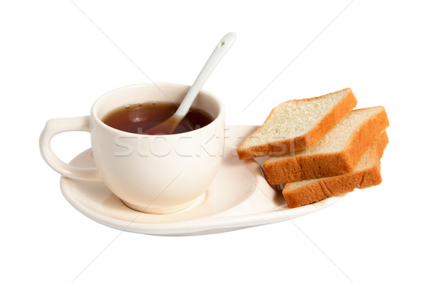 Tea desszert fehér Kína bögre kanál Stock fotó © restyler