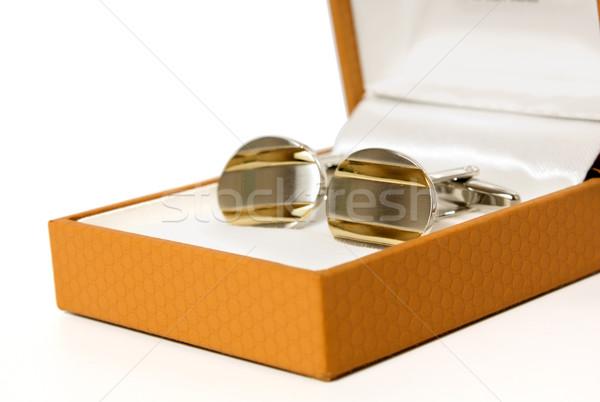 Manchet links roestvrij staal manchetknopen bruin leder Stockfoto © restyler
