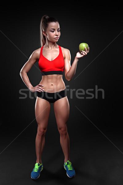ストックフォト: 美しい · フィットネス · 少女 · リンゴ · フィットネス女性