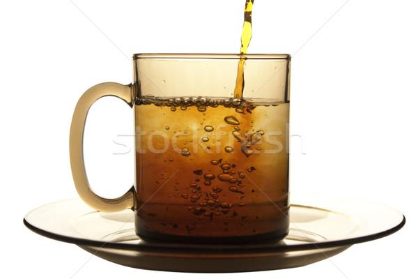 Cam fincan çay plaka yalıtılmış beyaz Stok fotoğraf © restyler