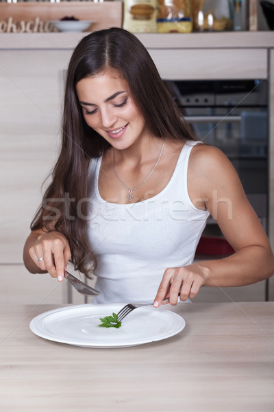 Kız diyet güzel kız yaprak plaka kadın Stok fotoğraf © restyler