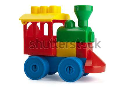 Stockfoto: Speelgoed · trein · geïsoleerd · witte · kinderen · gelukkig