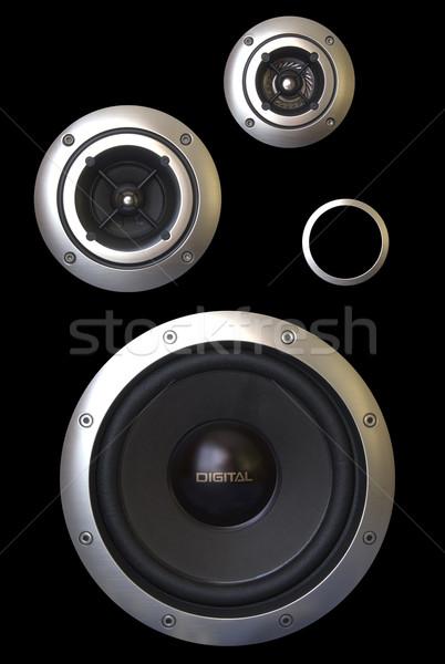 Drie sprekers passief radiator geïsoleerd zwarte Stockfoto © restyler