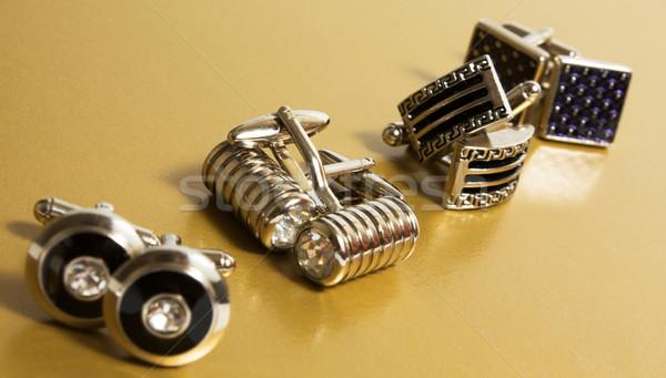 Manchet links roestvrij staal manchetknopen goud partij Stockfoto © restyler