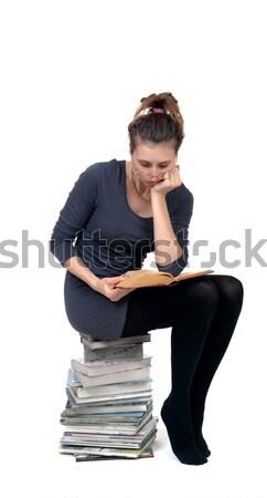Kadın okuma kitap yalıtılmış beyaz eğitim Stok fotoğraf © restyler