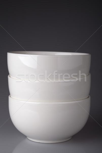 Beyaz seramik çanaklar gri gıda Stok fotoğraf © restyler