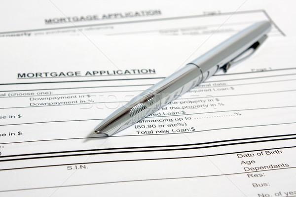 Hypothèque demande métal stylo à encre papier droit Photo stock © restyler