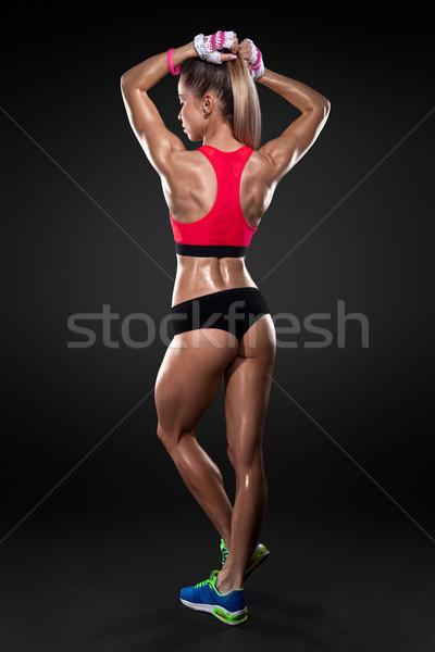 アスレチック 若い女性 筋肉 戻る 手 ストックフォト © restyler