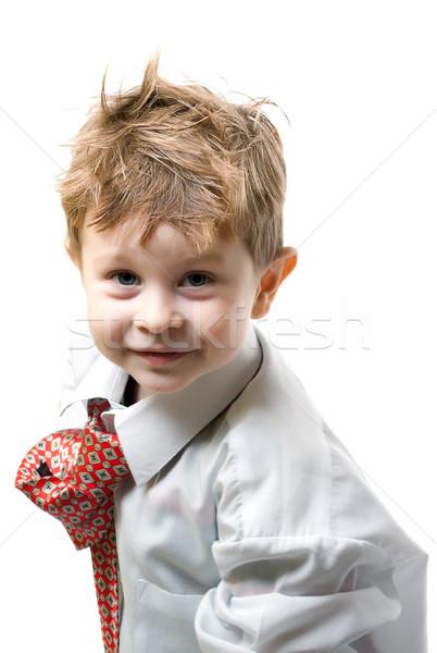 Portré fiú fehér mosoly arc gyerek Stock fotó © restyler