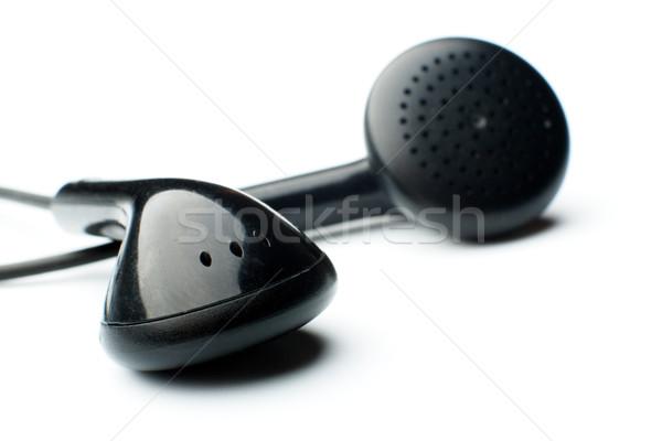 Kulaklık beyaz siyah teknoloji kulaklık yürüyüş Stok fotoğraf © restyler