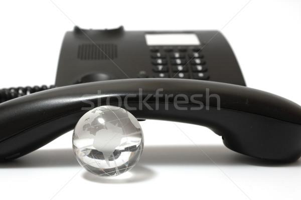 Negócio telefone vidro globo preto mundo Foto stock © restyler