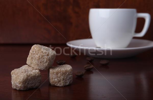 Azúcar moreno piezas mesa de madera frijoles blanco Foto stock © restyler