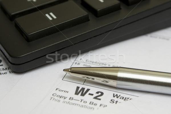 Podatku formularza pióro Kalkulator działalności biuro Zdjęcia stock © restyler