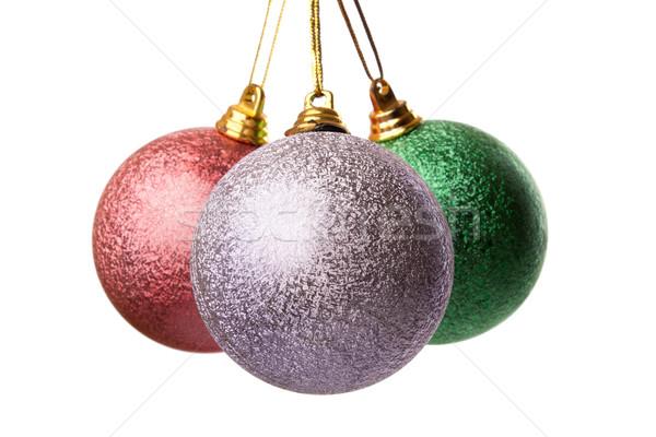 Foto stock: Tres · Navidad · colgante · blanco