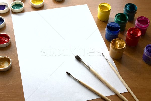 Stock photo: Gouache for drawing on a table