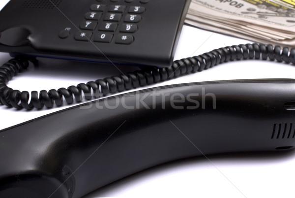 Telefon gazete siyah beyaz iş kâğıt Stok fotoğraf © restyler