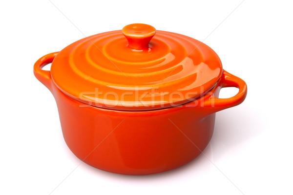 Сток-фото: оранжевый · блюдо · банка · изолированный · белый
